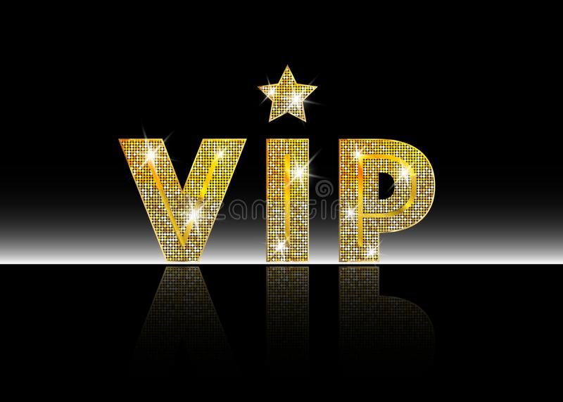 Golden symbol of exclusivity, the label VIP with glitter. Very important person - VIP icon on white background Sign of exclusivity. With bright, Golden glow stock illustration