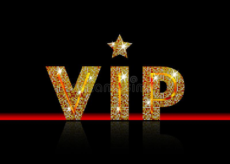 Golden symbol of exclusivity, the label VIP with glitter. Very important person - VIP icon on black background Sign of exclusivity. With bright, Golden glow royalty free illustration