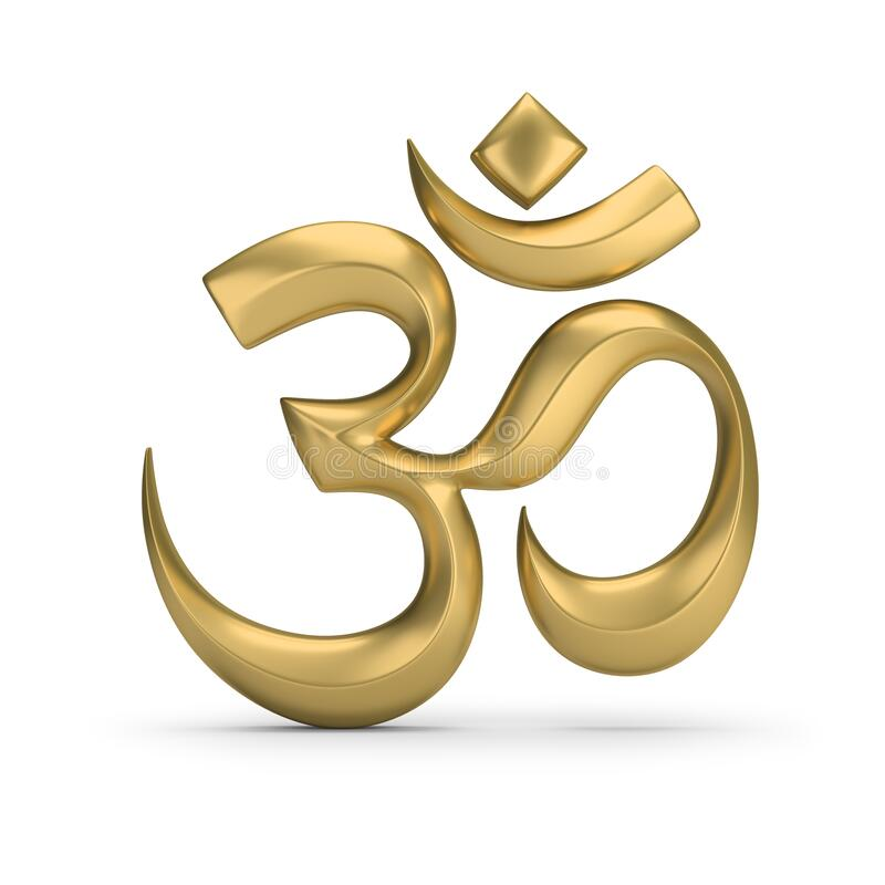 Symbol of hinduism. Golden symbol of hinduism. 3d image. White background royalty free illustration