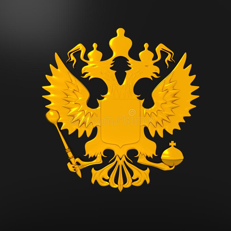 Golden symbolism of a double-headed eagle royalty free illustration