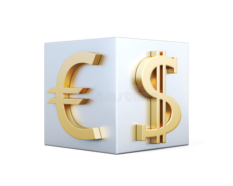 Golden Symbols Of Euro And Dollar On The Cube 3d Rendering Stock
