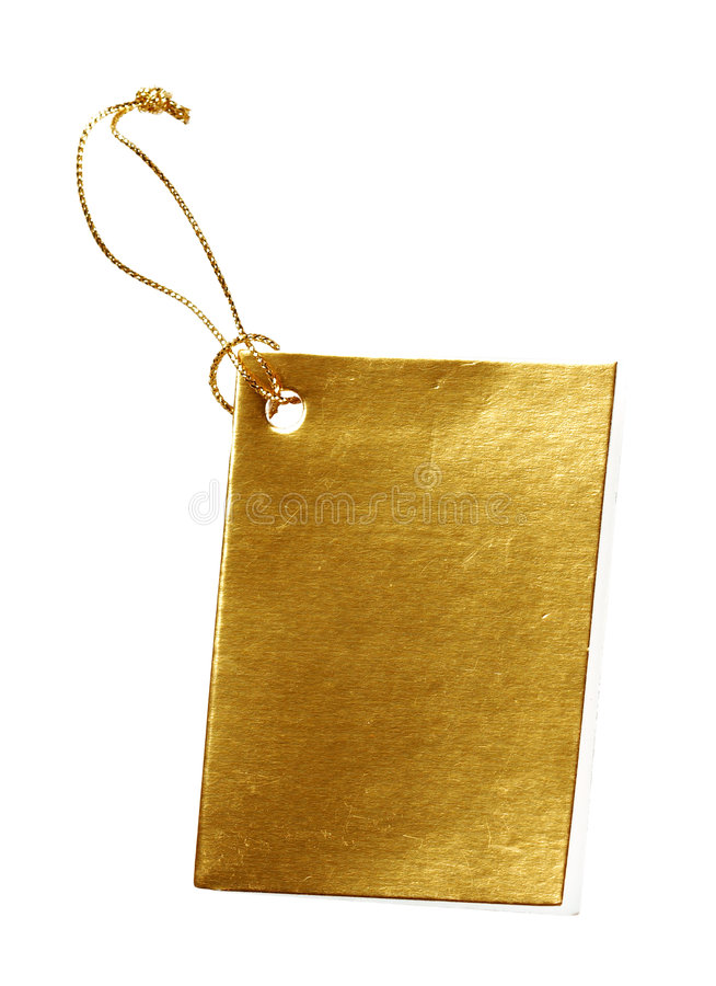 Golden Tag. For text messages on a white background royalty free stock photography