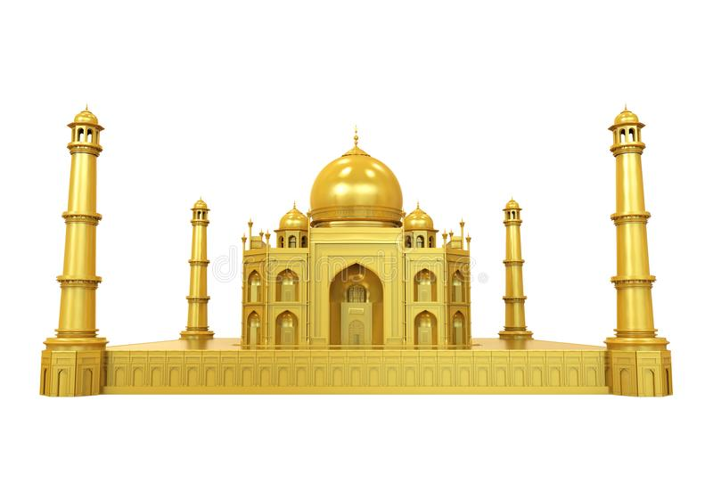 Golden Taj Mahal Isolated. On white background. 3D render stock illustration
