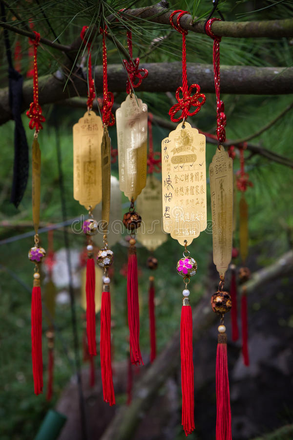 Golden Taoist prayer charms hanging from a tree. Closeup of golden Taoist prayer charms (prayers in physical form) hanging from a tree stock photos