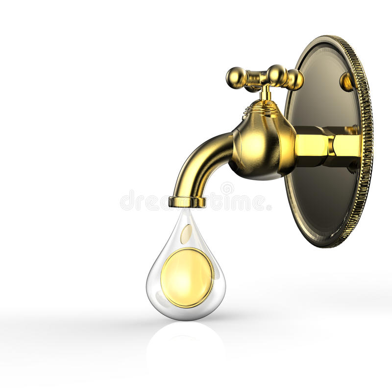Golden tap with gold coins falling. 3d rendering golden tap with gold coins falling royalty free stock images