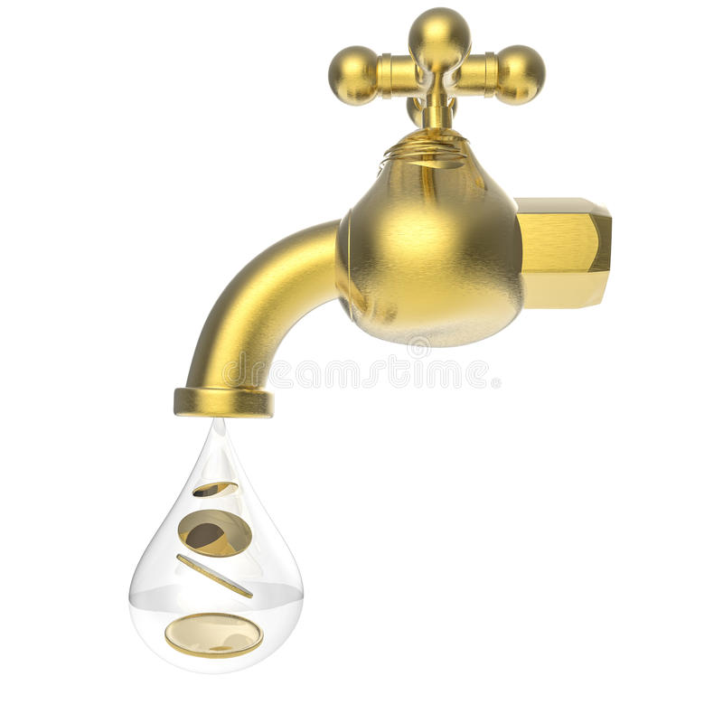 Golden tap with gold coins falling. 3d rendering golden tap with gold coins falling stock photos