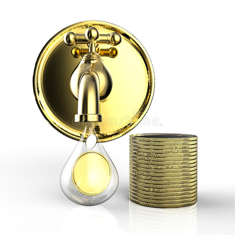 Golden tap with gold coins falling. 3d rendering golden tap with gold coins falling stock image