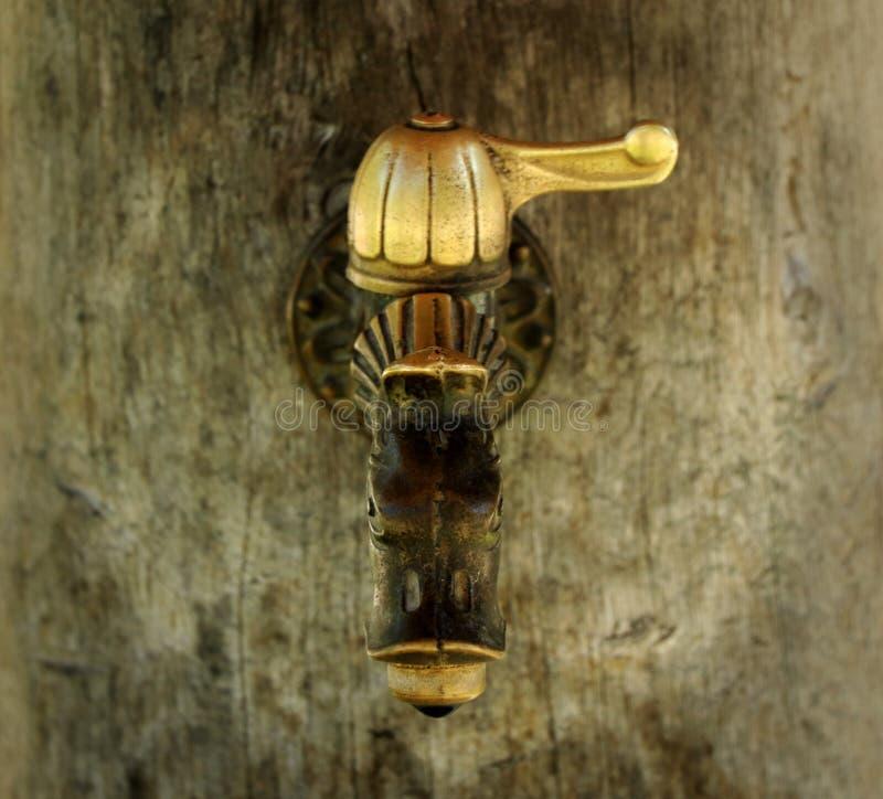 A golden tap in Slovakia village near castle Strecno. A golden tap in Slovakia village near the Strečno Castle royalty free stock photos
