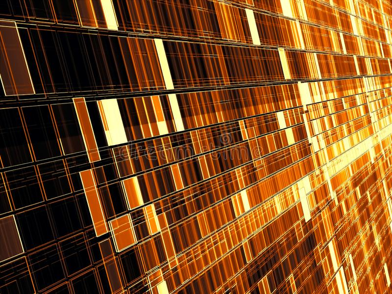 Golden technology or sci-fi backdrop - diagonal wall consist of rectangular cells. Abstract computer-generated image - tech. Background with perspective and royalty free stock photography