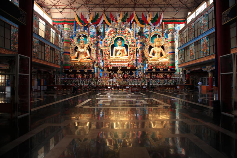 Golden Temple. Bylakuppe is the largest Tibetan settlement in India located near Kushalanagar in Kodagu district. The settlement set up in 1960 holds a several stock photography