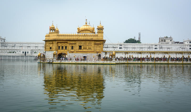 Golden Temple in Amritsar, India. View of the Golden Temple in Amritsar, India. The construction of Harmandir Sahib was intended to build a place of worship for royalty free stock photography
