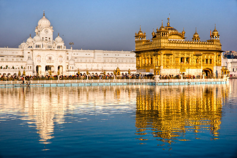 Golden Temple in Amritsar, Punjab, India. People at Golden Temple in Amritsar, Punjab, India royalty free stock images