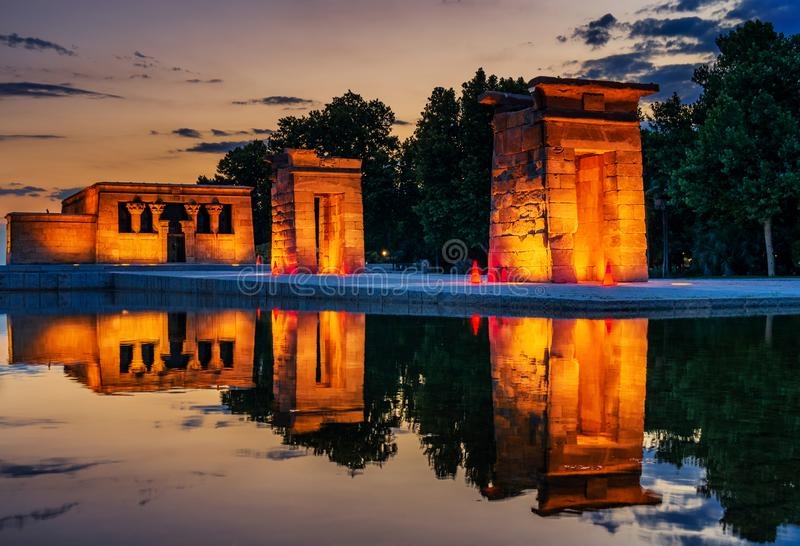 The Golden Temple of Debod. Sunset of the Temple of Debod, it is an ancient Egyptian temple that was dismantled and rebuilt in Madrid, Spain royalty free stock photo