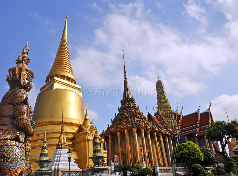 Golden Temple Dome & Guards at the Grand Palace royalty free stock photography