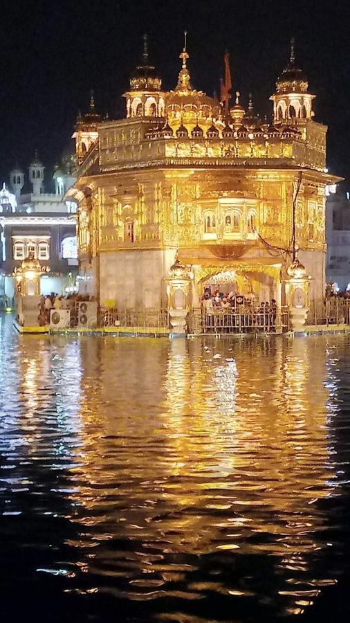 Golden temple front look at night royalty free stock images