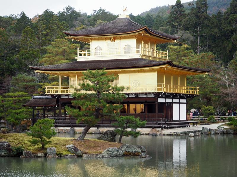 Golden Temple in Kyoto, Japan. Picturesque scenery of famous Golden Pavilion - Kinkakuji,  in Kyoto, Japan. Kinkakuji, Golden Temple in Kyoto, Japan is one of royalty free stock images