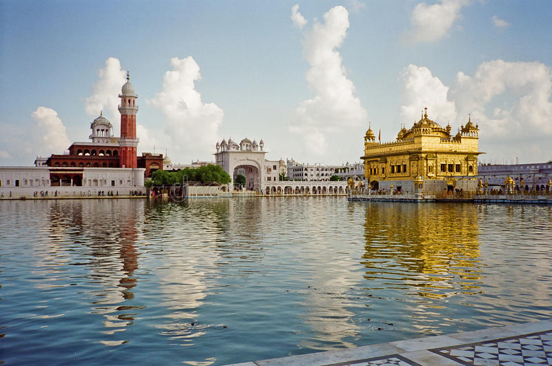 Golden temple of the Sikh in Amritsar stock images