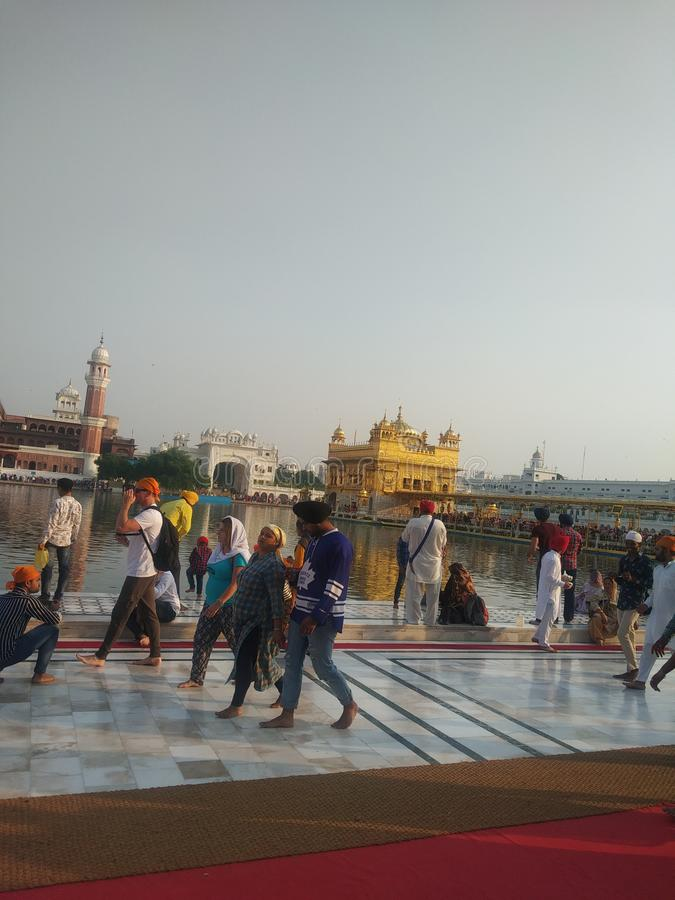 Heaven on earth golden temple. Golden temple is situated in Amritsar , Punjab, India. It is known as the world most popular sikh temple. Everyday lakhs of people stock photo