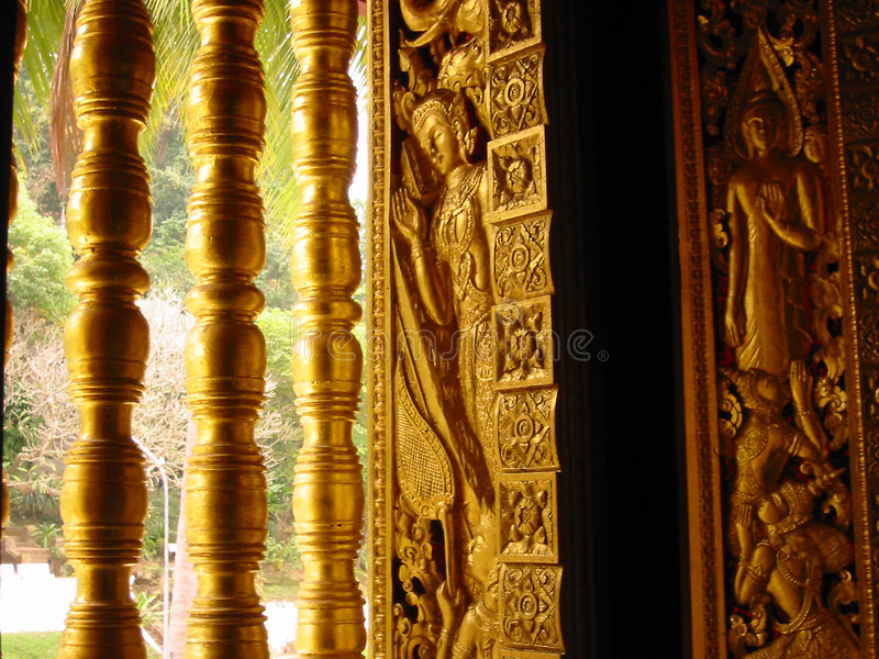 golden temple window art laos royalty free stock image