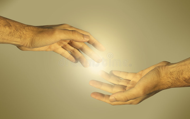 Golden tender (special f/x). Hands of the man (as concept for gay love and couple stock illustration