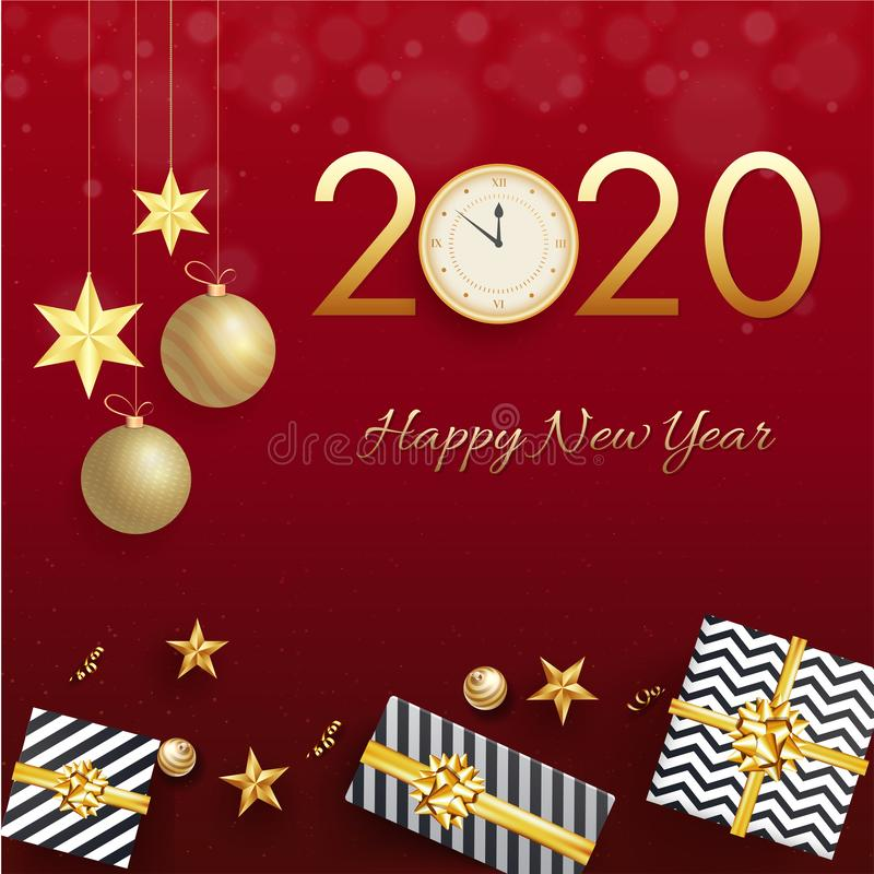 Free Golden Text 2020 With Clock, Hanging Baubles, Stars And Gift Boxes On Red Background For Happy New Year. Royalty Free Stock Image - 160806726