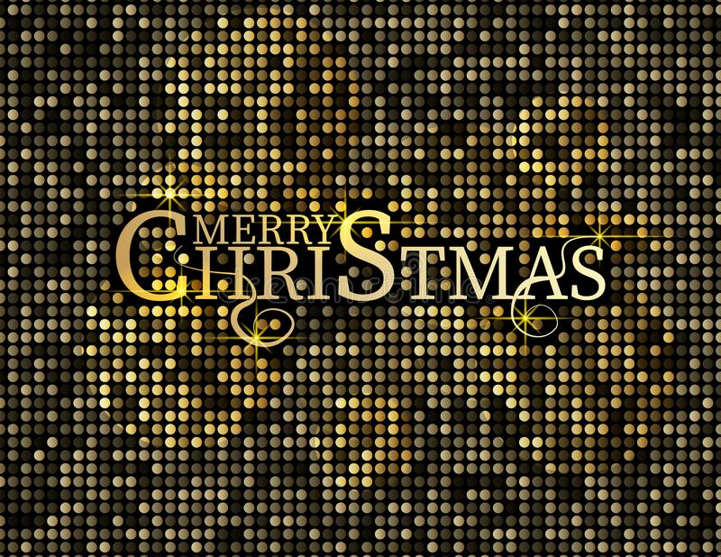 Golden text on black background. Merry Christmas and Happy New Year lettering for invitation and greeting card, prints and posters royalty free stock photography