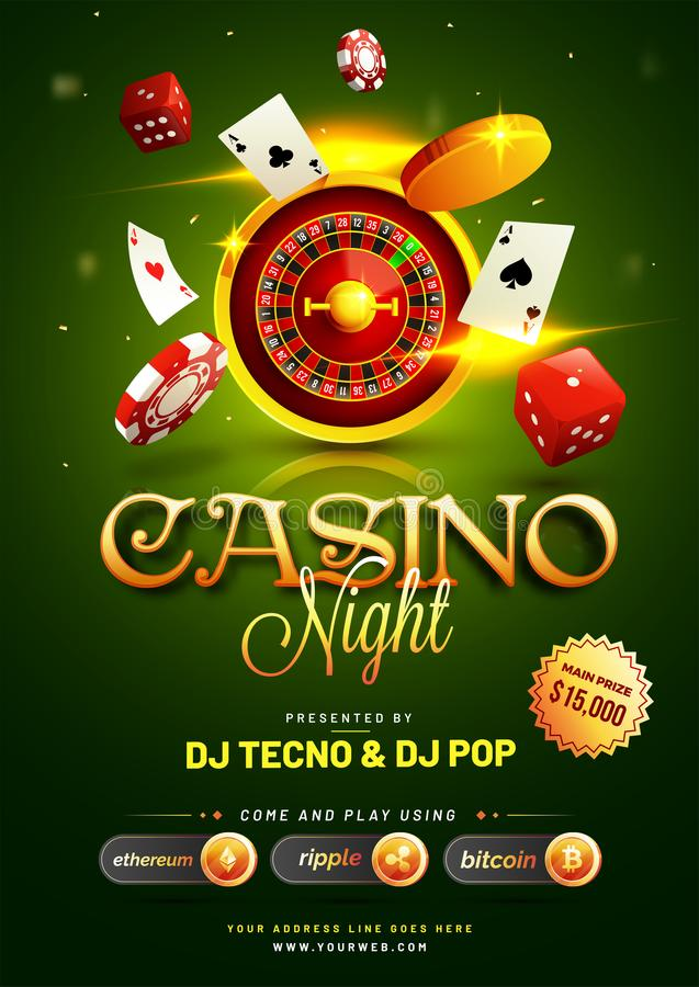 Golden text Casino Night with 3D chip, coins, ace cards, and roulette on sparkling green background. Flyer, poster or banner vector illustration