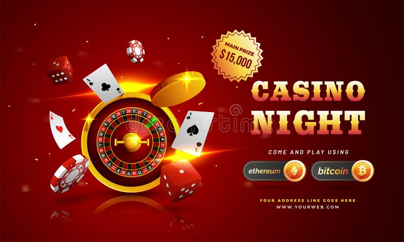 Golden text Casino Night with 3D chip, coins, ace cards, and roulette on sparkling red background. Flyer, poster or banner design stock illustration