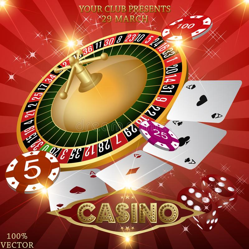 Golden text Casino Night with 3D chips royalty free illustration