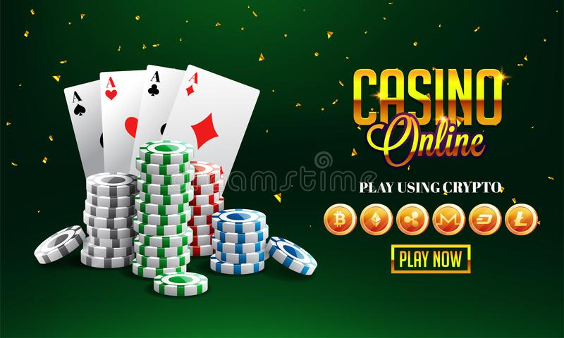 Golden text Casino Online with 3D chip, ace cards on sparkling g vector illustration