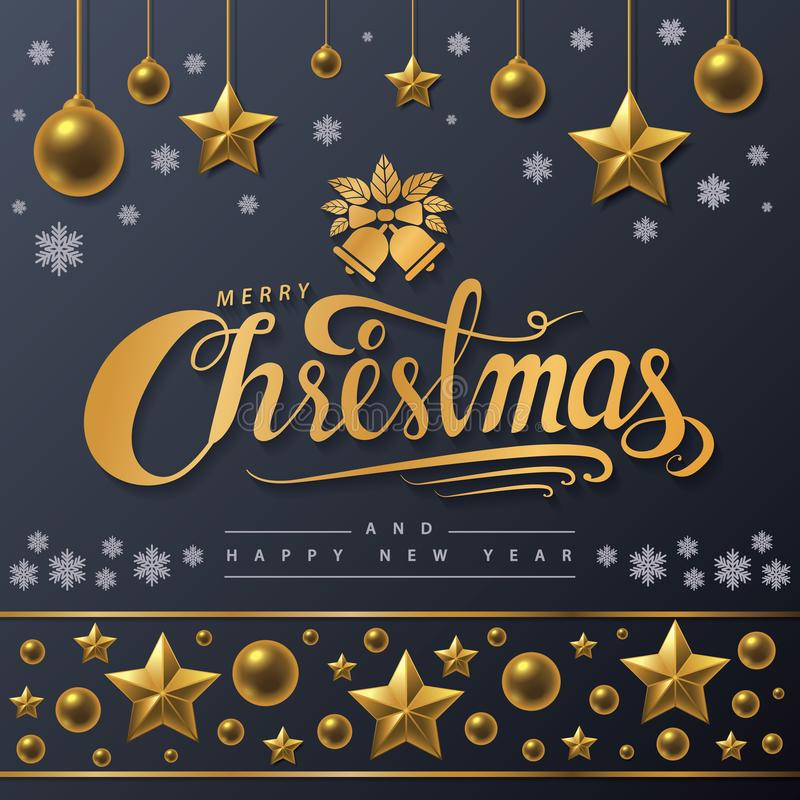 Golden text of Merry Christmas on black background. royalty free illustration
