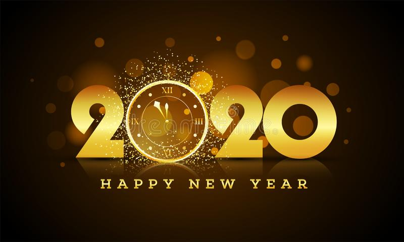 Golden text 2020 with wall clock with glittering effect on brown bokeh background. Golden text 2020 with wall clock with glittering effect on brown bokeh vector illustration