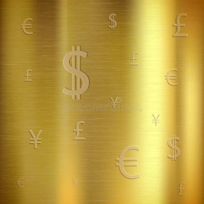Golden textured background with currency signs. vector illustration