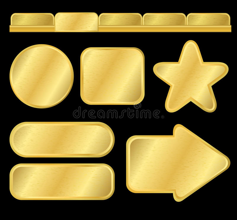 Download Golden Textured Buttons And Menu Stock Vector - Image: 14283898