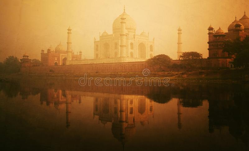 Golden textured picture of the Taj Mahal scenery. royalty free stock photography