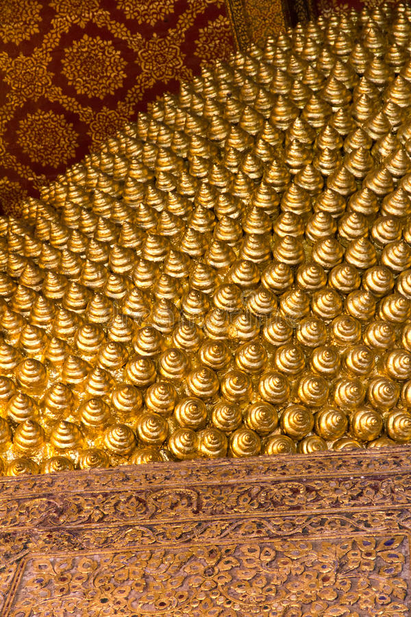 Golden Textures at Buddhist Temple in Thailand royalty free stock images