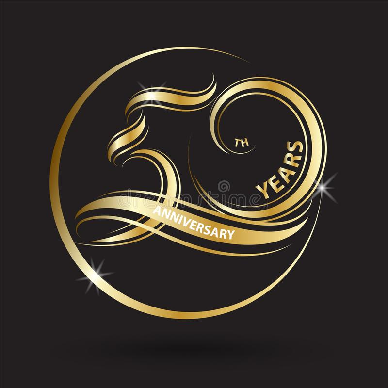 Golden 50th anniversary sign and logo for gold celebration symbol.  stock illustration