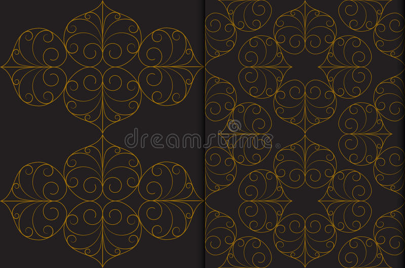 Golden Thai vintage seamless pattern vector abstract on black background vector illustration