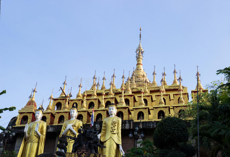 Golden thailand multi-storey pagoda stock photography