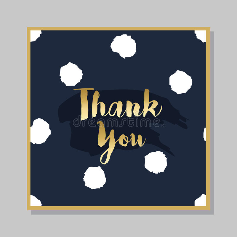 Golden Thank you brush message card with dotted background vector illustration