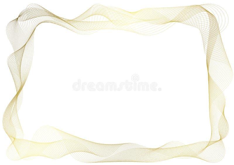 Golden Transparent Veil Frame border. Golden thin organza transparent fabric veil curtain rectangular border frame stock illustration