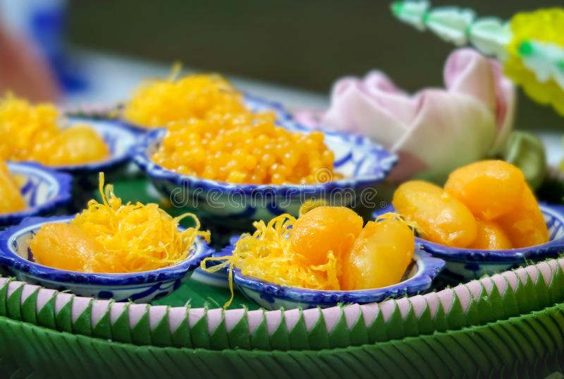 Golden Threads, Med Khanoon or Bean Paste set, Thai sweet desserts royalty free stock photos