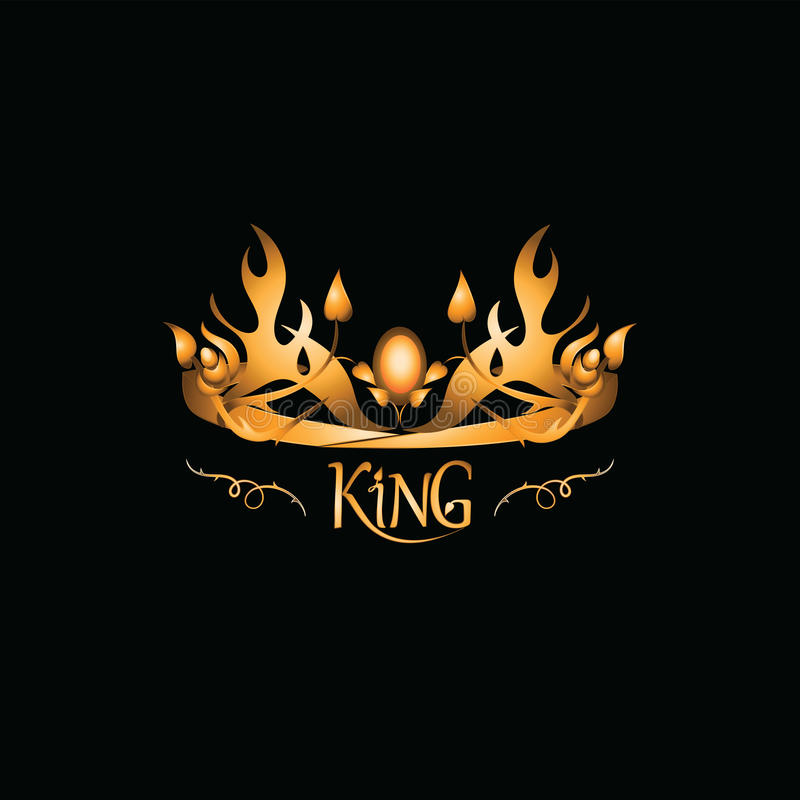 Golden tiara with the inscription the KING. Emblem. vector illustration