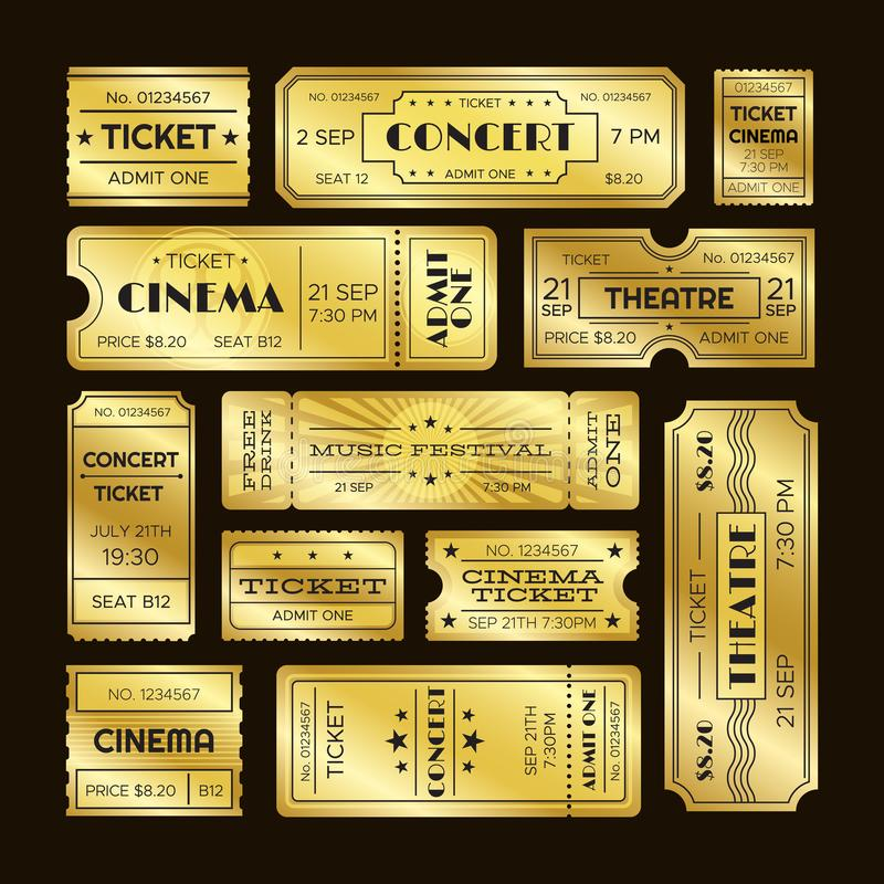 Golden tickets. Admit one gold movie ticket set. Vip party coupon vector templates royalty free illustration