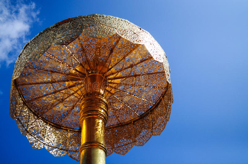Golden Tiered Umbrella Royalty Free Stock Images