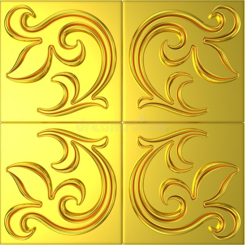 Golden tile with floral ornament royalty free illustration