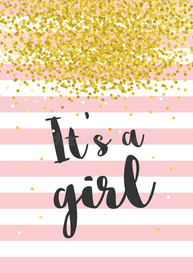 Cute Baby Shower Vector Illustration. Dark Grey Letters. It`s a Girl. Pink Stripes With Golden Confetti on White Background. stock illustration
