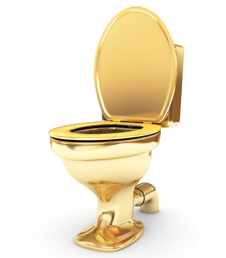 Golden toilet bowl as a status stock illustration