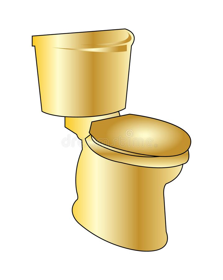 Golden toilet seat vector illustration