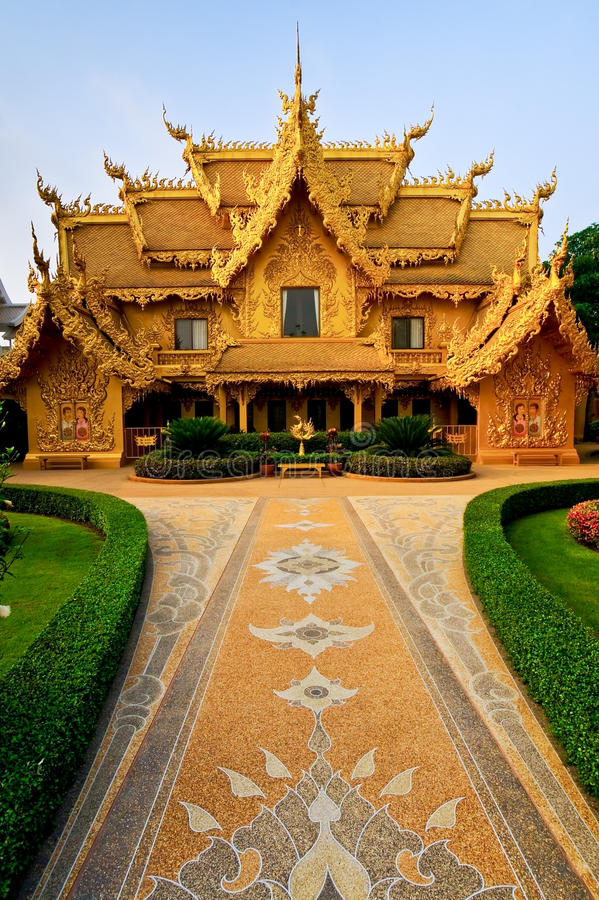 Golden toilet of Wat Rong Khun temple. royalty free stock image